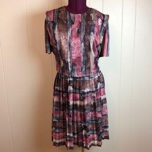 Vintage 70s/80s Brown Blousy Top Secretary Dress